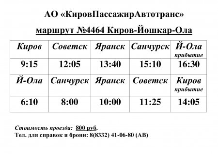 АО «КировПассажирАвтотранс» маршрут №4464 Киров-Йошкар-Ола